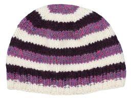 Children's Half fleece lined stripe beanie Purple and white