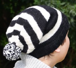 Pure wool half fleece lined striped slouch White/Black
