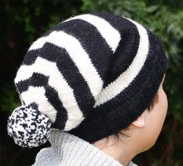 Pure wool half fleece lined striped slouch White/Black