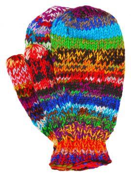Fleece lined mittens Electric Rainbow