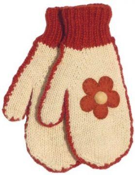 Fleece lined mittens Felt Flower Cream/Rust