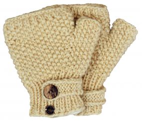 Fleece lined half mitt moss stitch cream