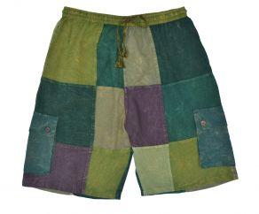 Plain patchwork shorts greens