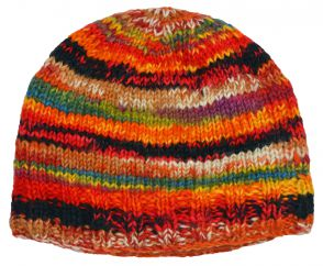 Children's Half fleece lined stripe beanie multi coloured