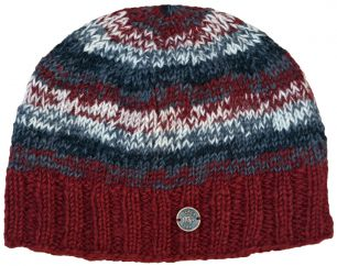 Pure wool half fleece lined electric beanie Brick red