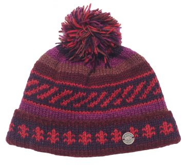Half fleece lined pure wool bobble hat  Dark Autumn