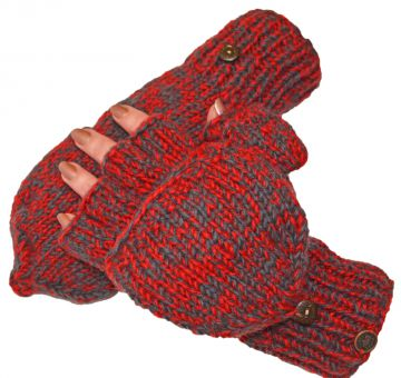 Fleece lined two tone  mitt Bright red/smoke
